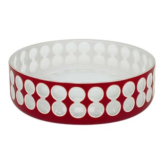 Hungarian Hand-Cut Red and White Cased Glass Bowl For Sale