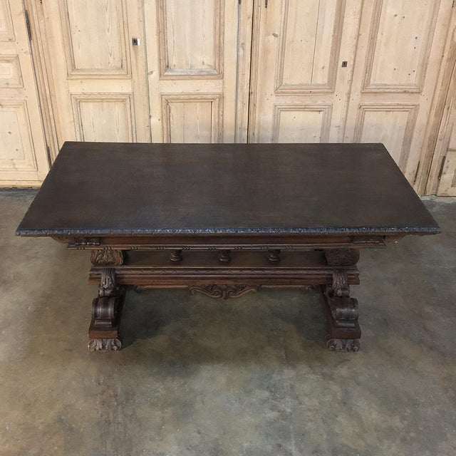 Antique Italian Renaissance Walnut Desk - Dining Table For Sale - Image 4 of 11