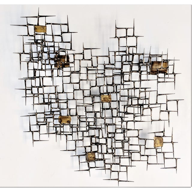 Bronze Brass Brutalist Nail Wall Sculpture For Sale - Image 12 of 12