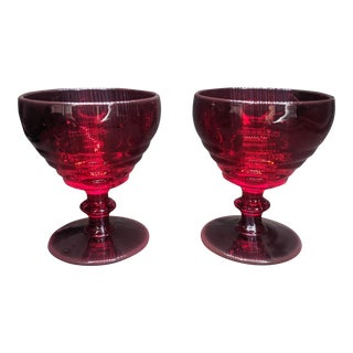Vintage Ruby Red Champagne Sherry Cordial Glasses - Set of 2 For Sale