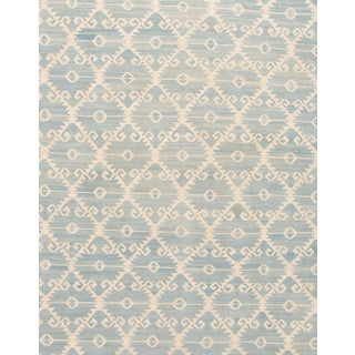 21st Century Contemporary Blue and Ivory Kilim Rug For Sale
