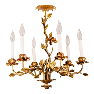 1940s Spanish Floral Gilt Tole Six-Light Chandelier For Sale