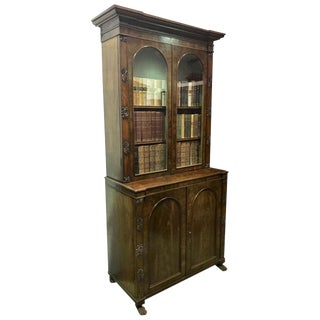1850s English Traditional Mahogany Bookcase For Sale
