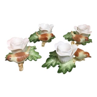 Vintage Fitz & Floyd Autumn Bird Candle Holders - Set of 4 For Sale