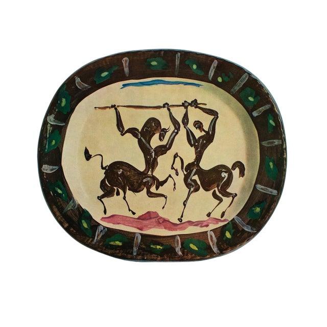 1955 Pablo Picasso Satyr and Centaur Ceramic Plate, Original Period Swiss Lithograph For Sale