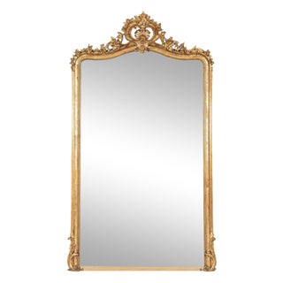 Early 19th Century Grand French Louis XV Style Rococo Giltwood Mirror For Sale