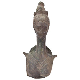 Vintage Mid-Century Arrigo Long Neck Queen Modern Signed Pottery Sculpture For Sale