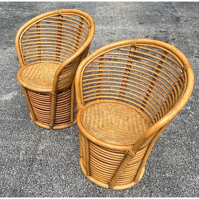 Wood Vintage Coastal Rattan Side Chairs - a Pair For Sale - Image 7 of 7