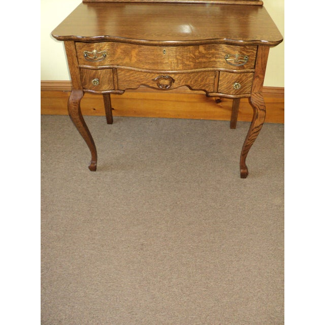 Antique Oak Vanity With Beveled Mirror - Image 4 of 6 - Antique Oak Vanity With Beveled Mirror Chairish