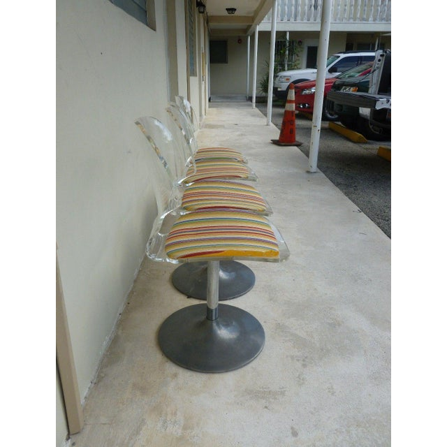 Set of 4 Space Age Mod 70's Lucite and Aluminum Swivel Chairs For Sale - Image 4 of 8