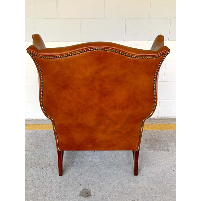 Wood English Saddle Leather Mahogany Wingback Chair For Sale - Image 7 of 9