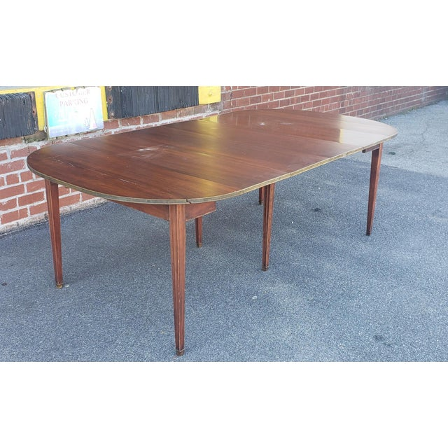 Brass 20th Century Mahogany Regency Style Brass Edge Drop Leaf Dining Room Table W/ 4 Leaves C1950 For Sale - Image 7 of 13