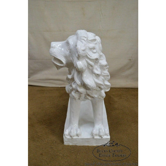 French French Faience Pottery Tuilerie Normande Vintage Large White Seated Lion Statue For Sale - Image 3 of 13