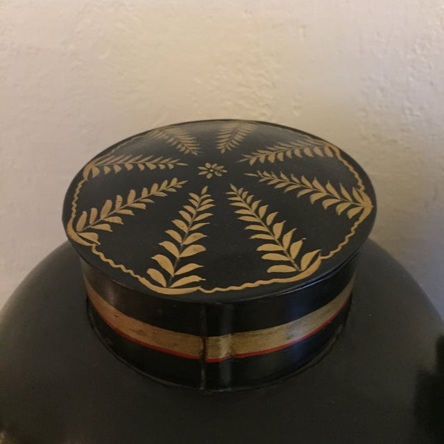 Black English Tole Tea Canisters - A Pair - Image 6 of 8