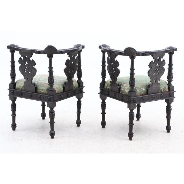 Italian 19th Century Italian Renaissance Hand-Carved Upholstered Corner Chairs- A Pair For Sale - Image 3 of 11