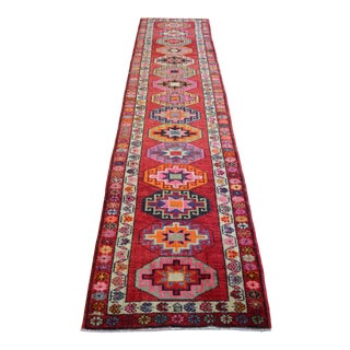 1970s Vintage Hand Knotted Red Runner For Sale