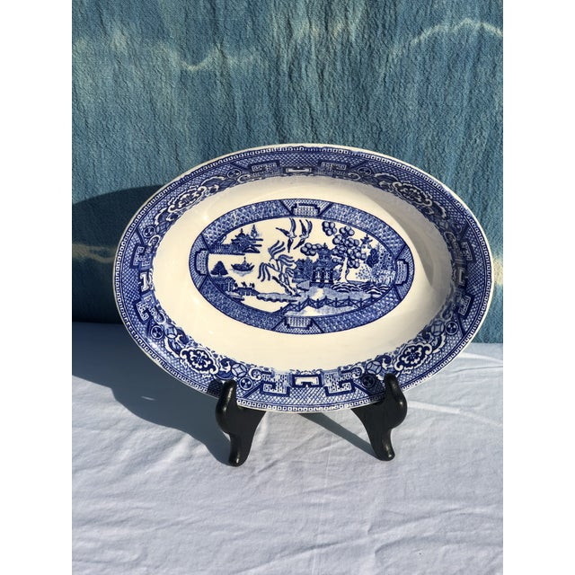 1930s Vintage Blue Willow Ware Serving Bowl 1930's by Homer Laughlin For Sale - Image 9 of 9