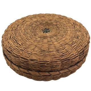 Wabanaki Northeast Coast Native Round Flat Sewing Basket For Sale