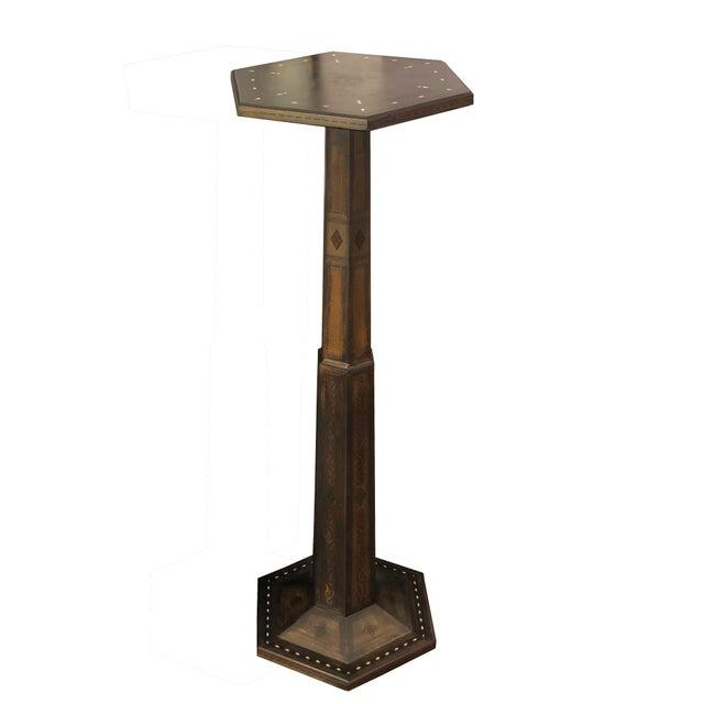 Gothic 1980s Gothic Parquetry Candle Stands - a Pair For Sale - Image 3 of 9