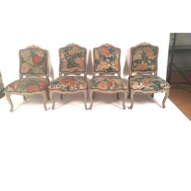 French Louis XV Chairs with Period Floral Needlework Upholstery- Set of 4 For Sale - Image 9 of 11