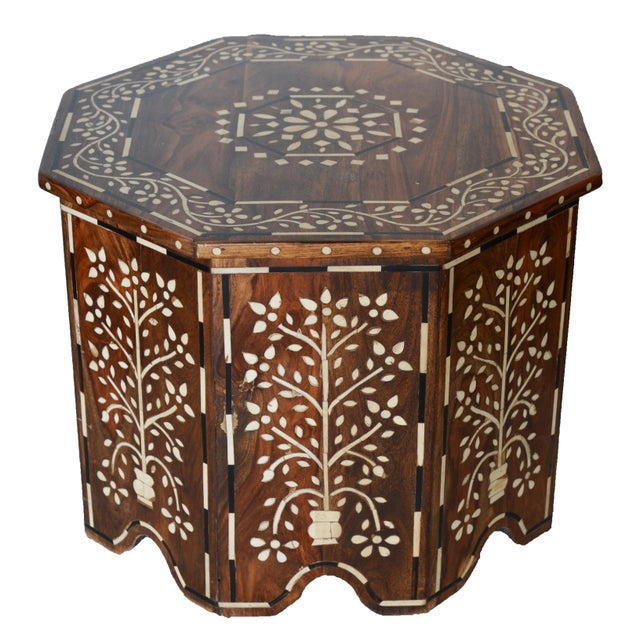 Moroccan Bone and Wood Inlay Side Table For Sale - Image 5 of 5