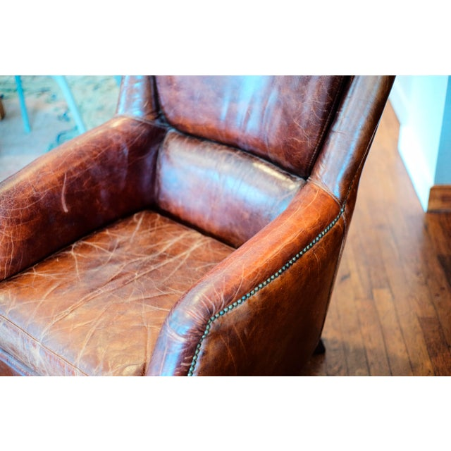 Vintage Shabby Chic Leather Chair For Sale - Image 4 of 7