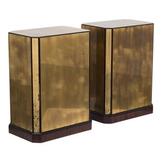 A Pair of Brass Veneered Drexel designed Table Bases/Pedestals 1970s For Sale