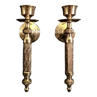 1960s Vintage Brass Candle Sconces - a Pair For Sale