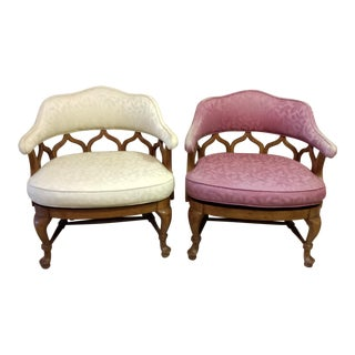 Vintage Mid Century Moroccan Style French Barrel Back Chairs- A Pair For Sale