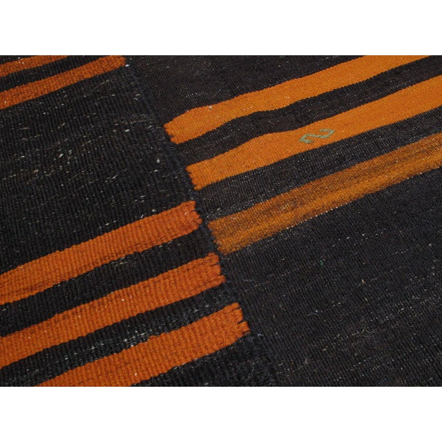 Orange Two-Panel Kilim with Stripes For Sale - Image 8 of 9