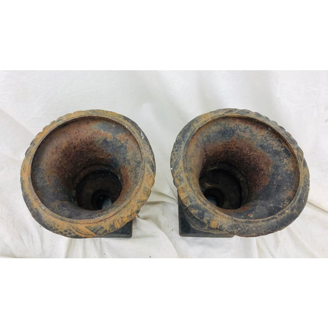 Pair Petite Antique Iron Urns For Sale - Image 4 of 8