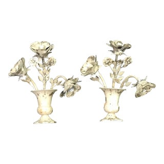 Italian Tole Floral Wall Decorations - a Pair For Sale