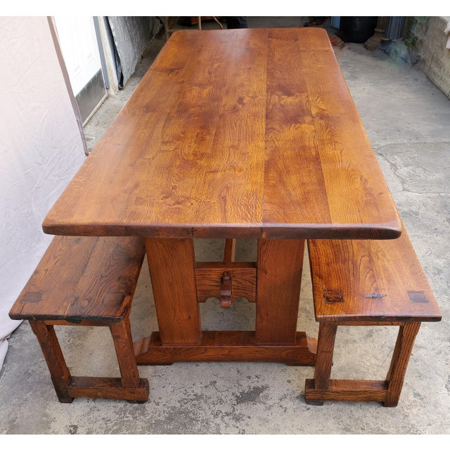 Arts & Crafts Antique Plank Solid Oak Refectory Dining Table With a Pair of Monastery Benches - 3 Pieces For Sale - Image 3 of 13