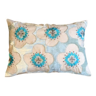 Seafoam Cherry Blossoms Pillow
