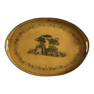 Large Traditional Pastoral Scene Mustard Yellow Tole Tray For Sale