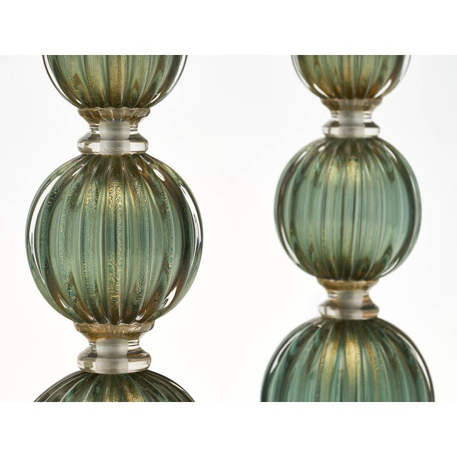 Early 21st Century Green Avventurina Murano Glass Lamps For Sale - Image 5 of 10