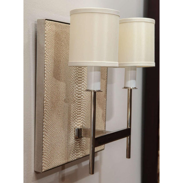 Customizable Paul Marra Python Backed Two-Arm Sconce For Sale - Image 5 of 6