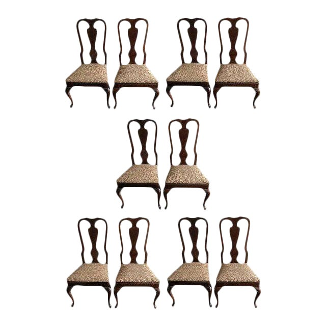 1990s Vintage Drexel Heritage Queen Anne Style Dining Chairs - Set of 10 For Sale