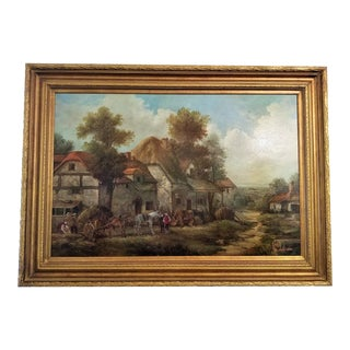 19th C. Country Scene Oil Painting on Canvas by P. Smythe For Sale