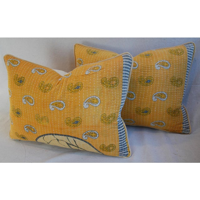 "24"" X 18"" Custom Boho-Chic India Kantha Textile Feather/Down Pillows - Pair - Image 8 of 10"