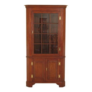 Henkel Harris Cherry Lighted 12 Pane Corner China Cabinet For Sale