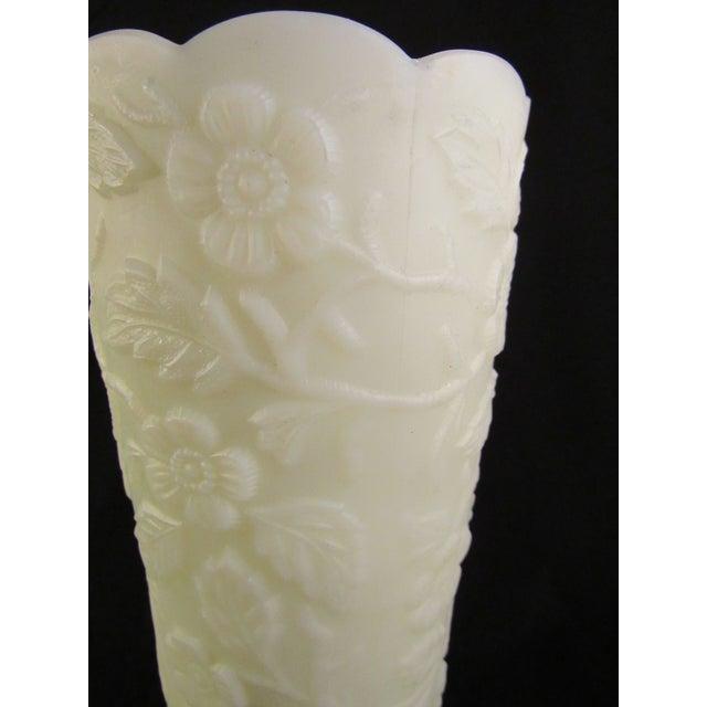 Vintage Fenton Satin Custard Embossed Peacock Glass Vase Chairish