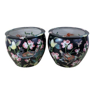 Vintage Black Koi Fish Bowls With Ducks, Kingfishers and Lotus - a Pair For Sale