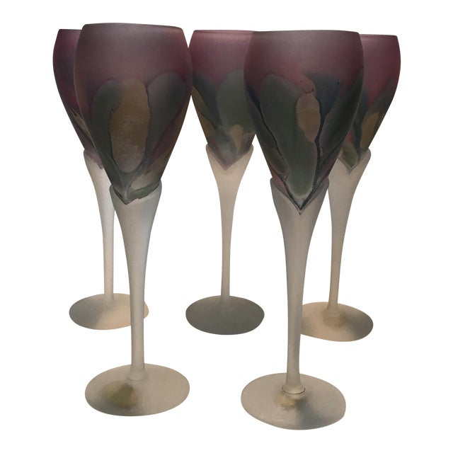 Rueven Art Nouveau Champagne Flutes - Set of 5 For Sale
