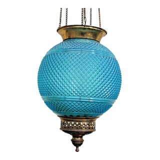 "French Art Deco Signed ""Baccarat"" France Blue Hobnail Hanging Electrified Oil Lantern C1920's For Sale"