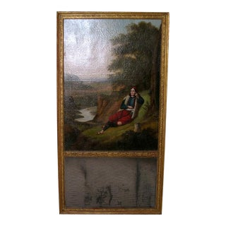 19th Century Trumeau Oil Painting with Mirror For Sale