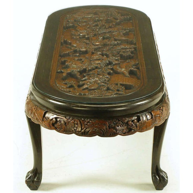 Wood Oval Coffee Table Made In China: High-End Chinese Oval Coffee Table With Hand Carved Battle