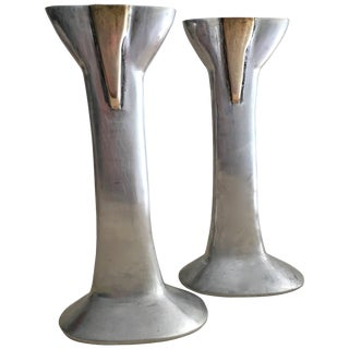Pair of Cast Aluminium and Brass Candlesticks by David Marshall, Spain For Sale