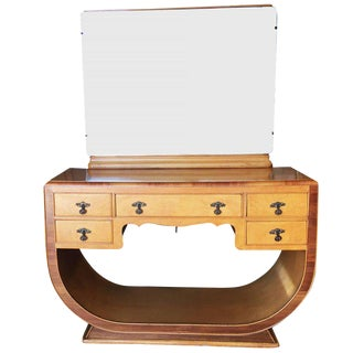 French Art Deco Birds Eye Maple Vanity For Sale