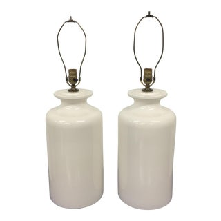 20th Century Vintage White Ceramic Lamps - a Pair For Sale